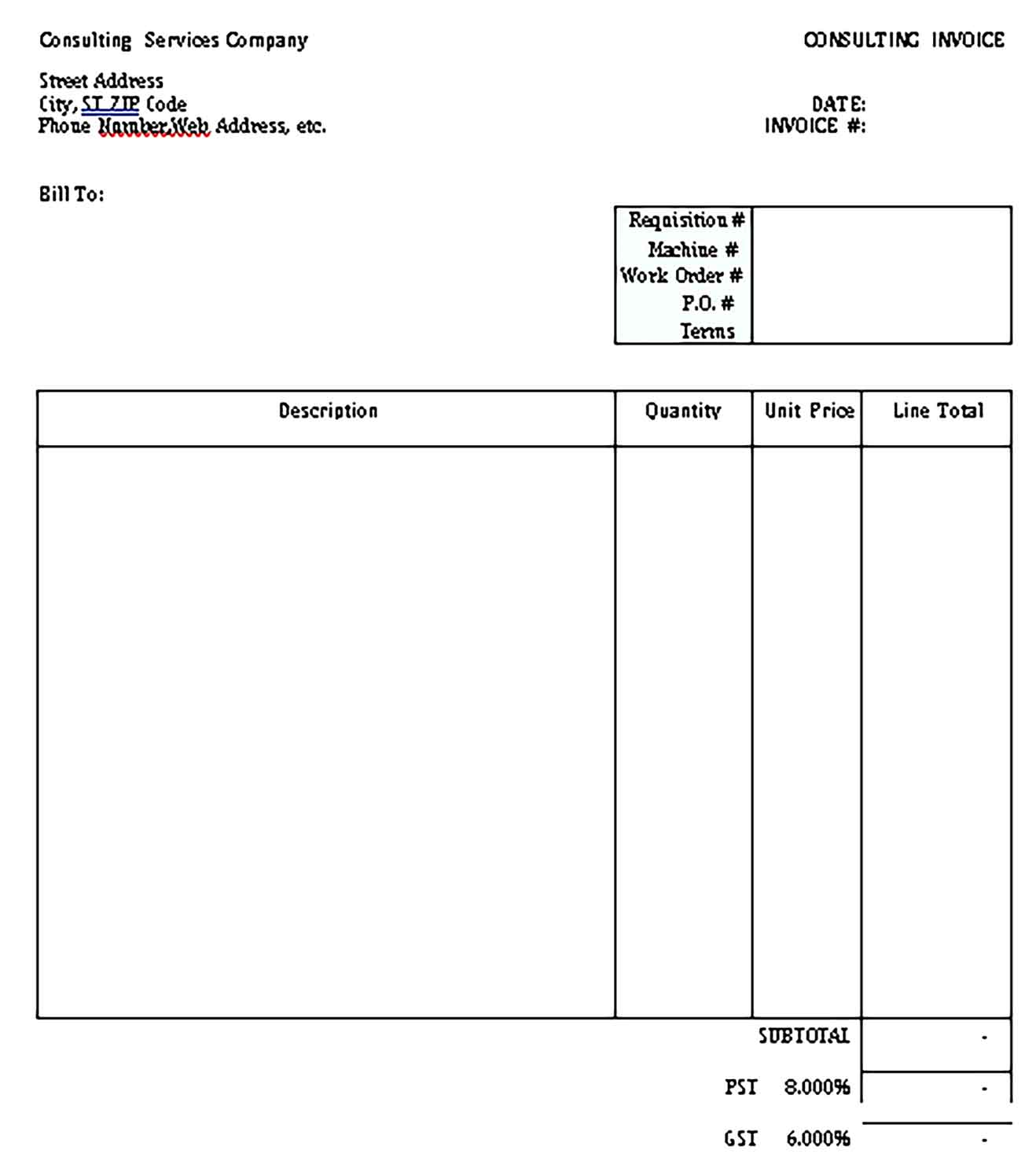 Sample Templates independent consultant invoice