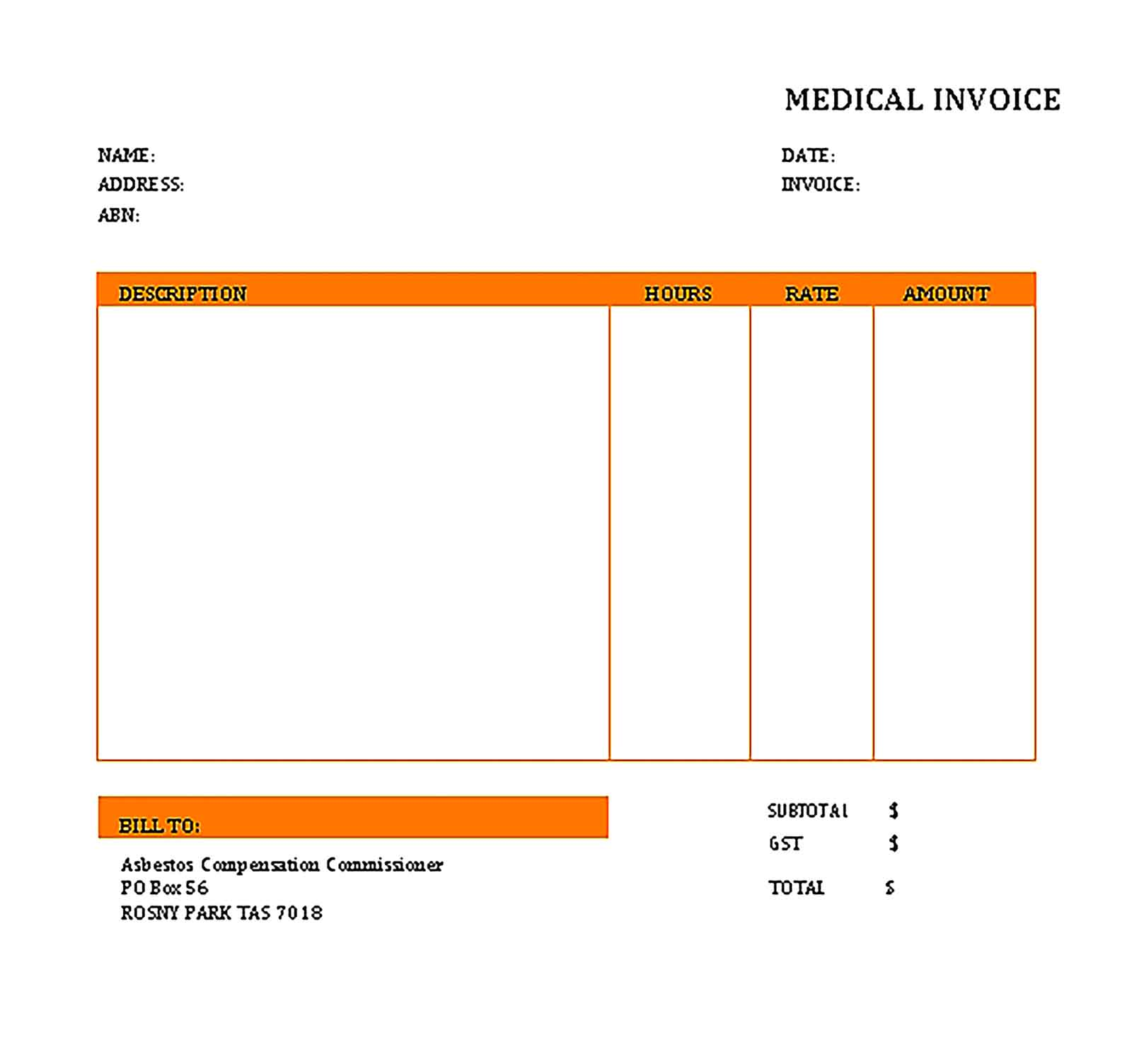 Sample Templates medical invoice