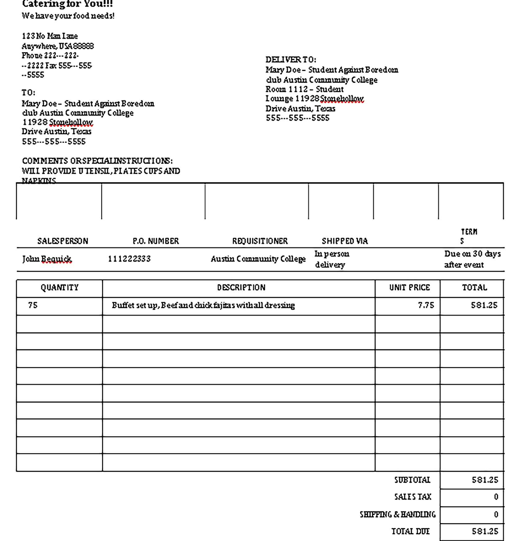 Sample Templates of Catering Invoice