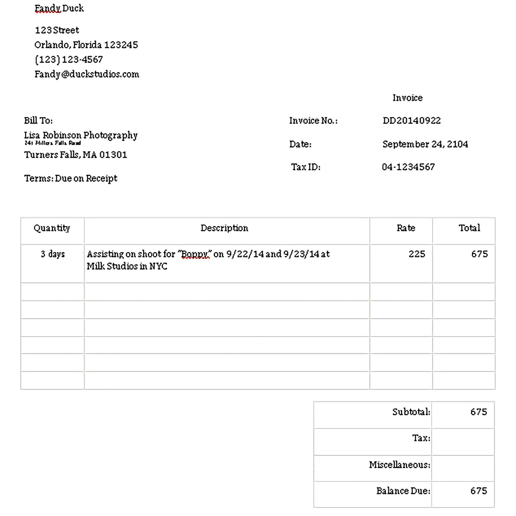 Sample Templates photography invoice 002