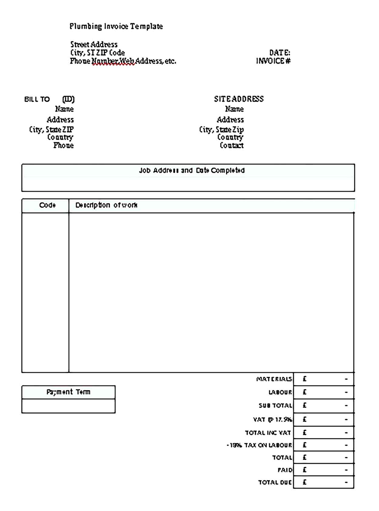 Sample Templates plumbing invoice format