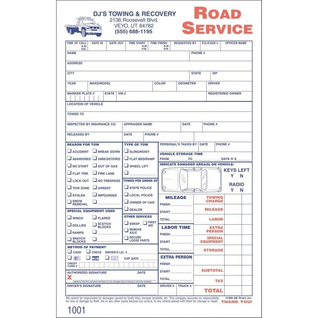 Sample Towing Invoice Templates