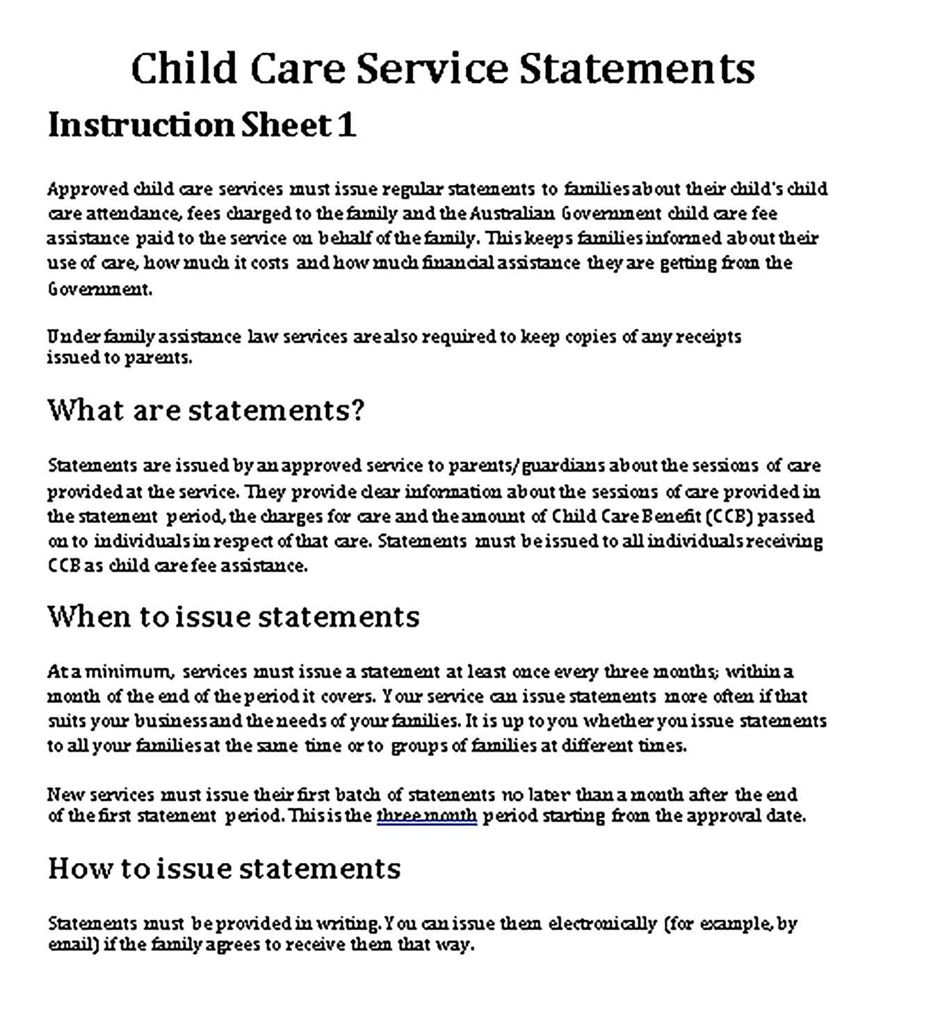 Sample about child care service statements Templates