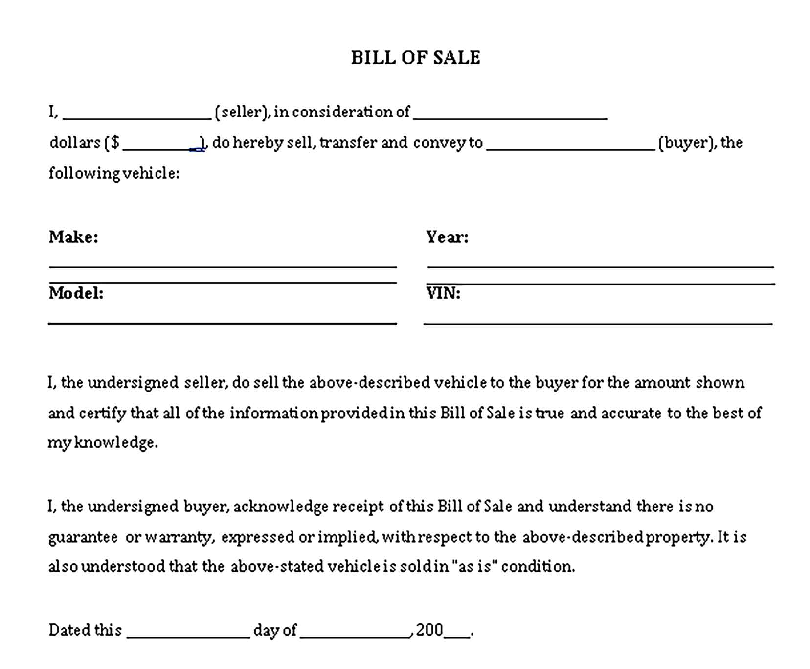 Sample bill of sale general purpose Templates