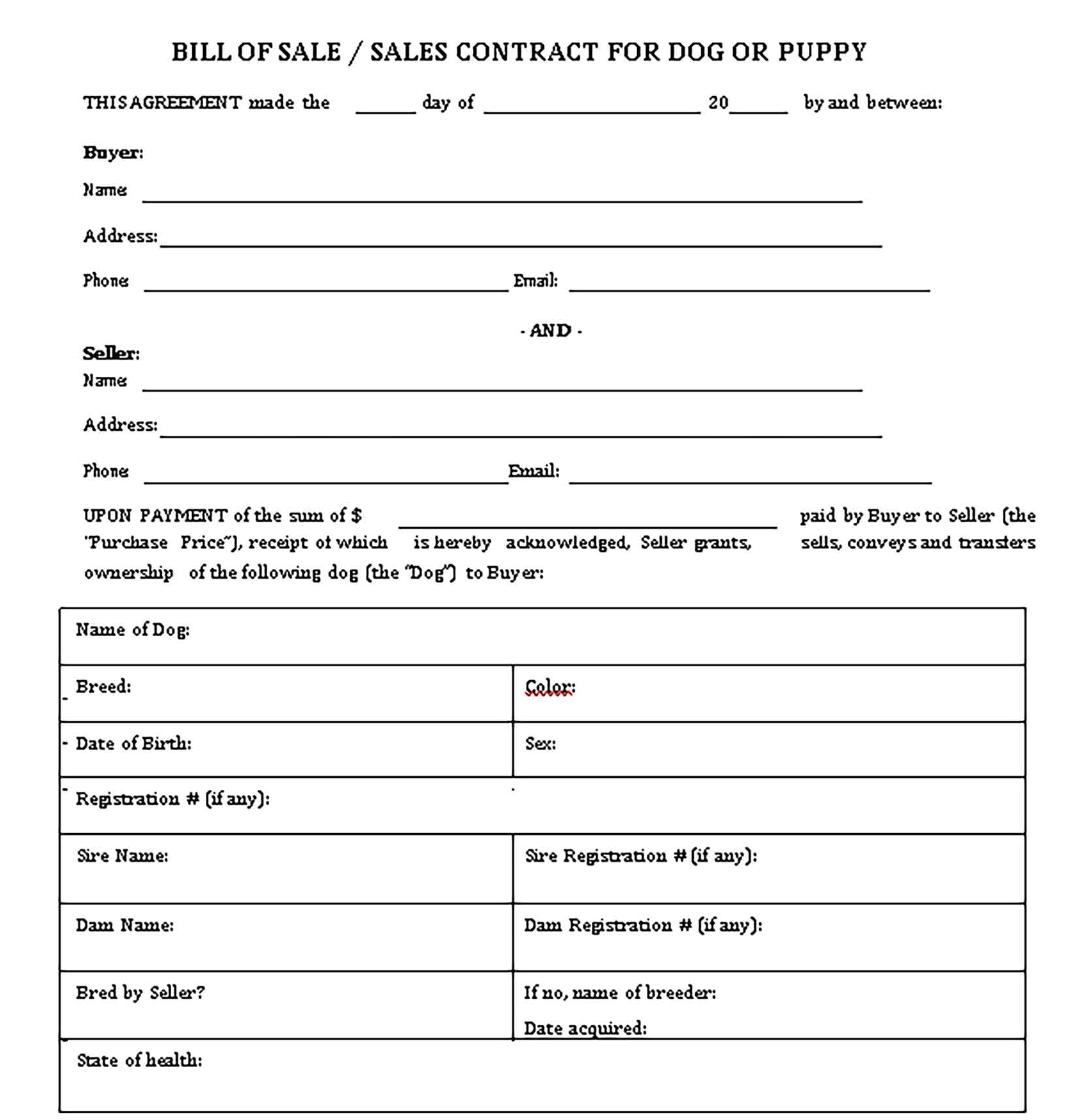 Sample dog bill of sale free Templates