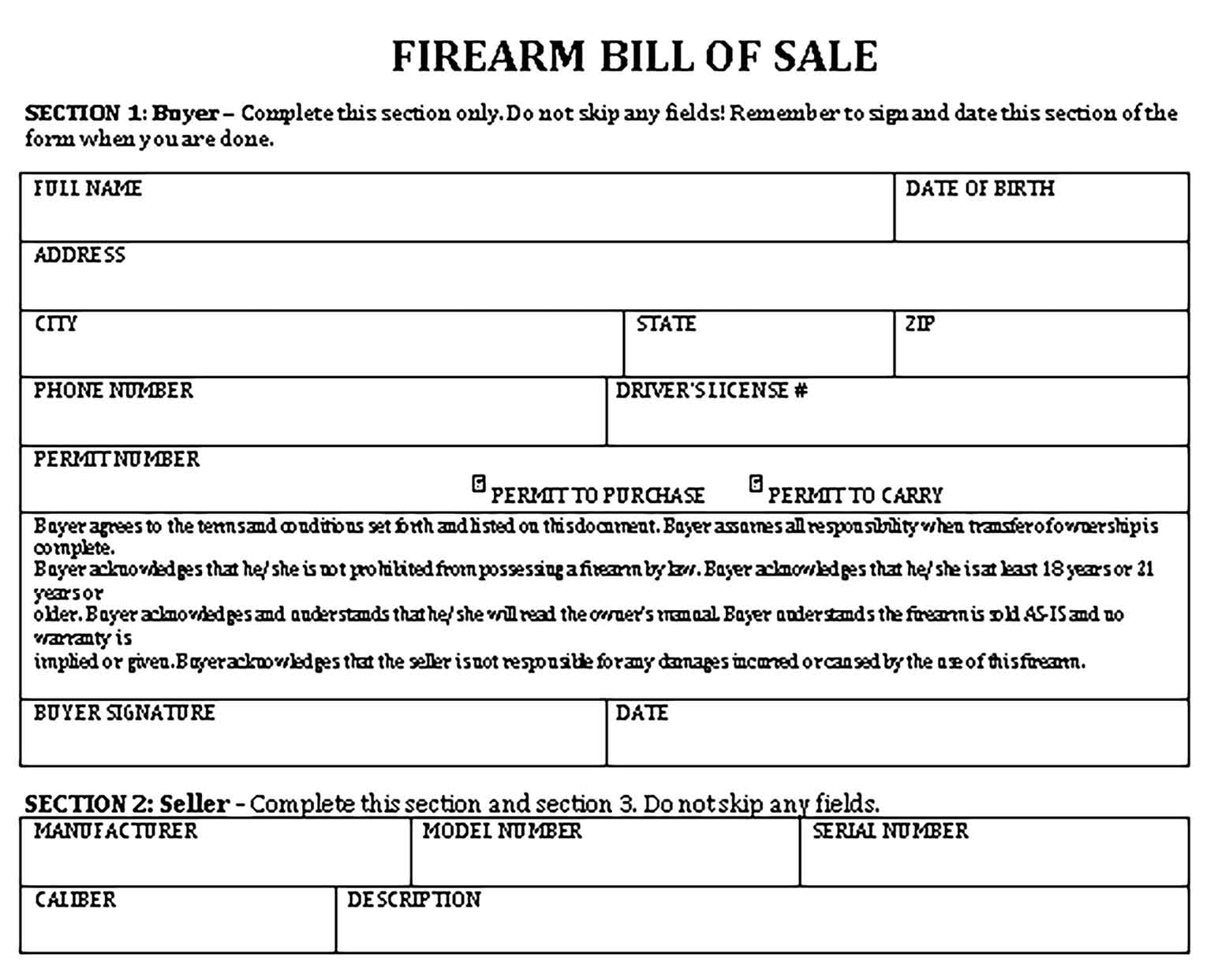 Sample firearm bill of sale free Templates