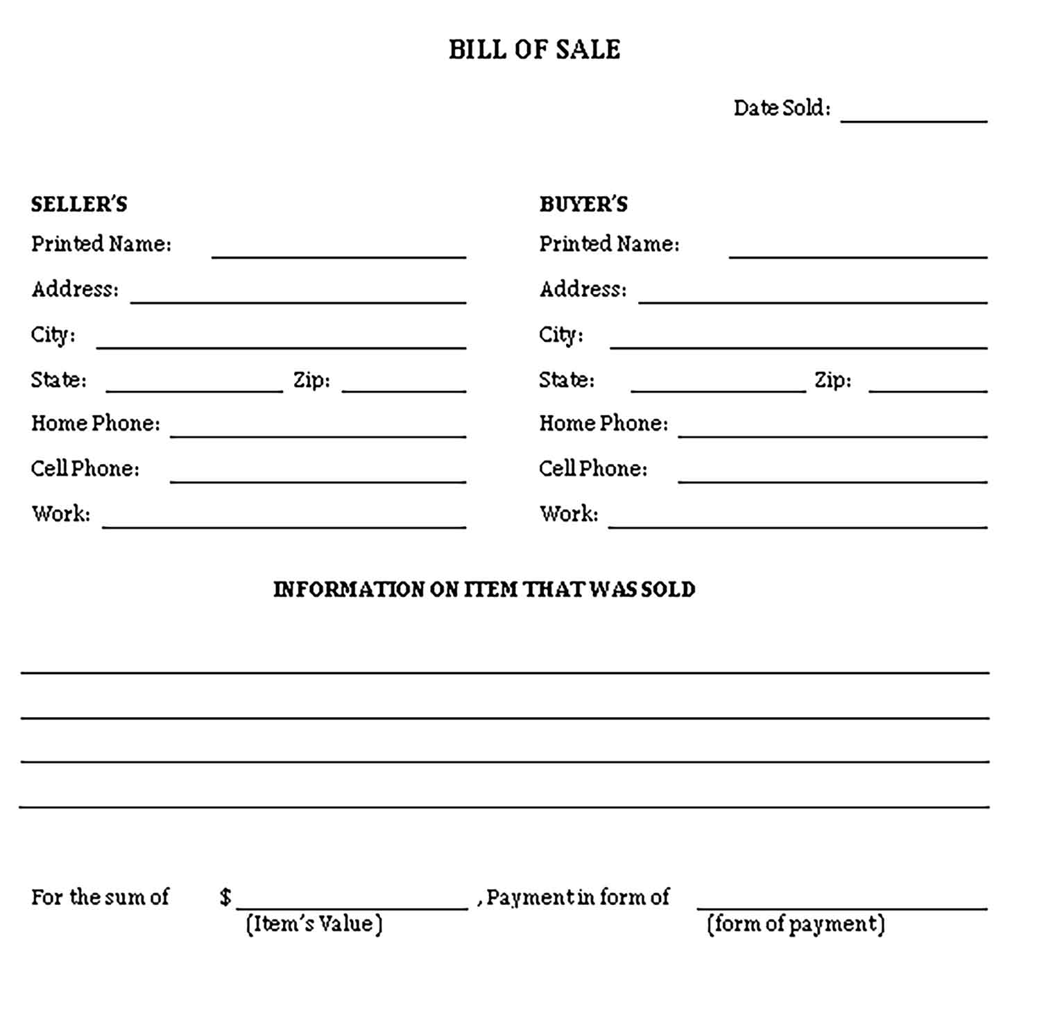 Sample general bill of sale form Templates 1