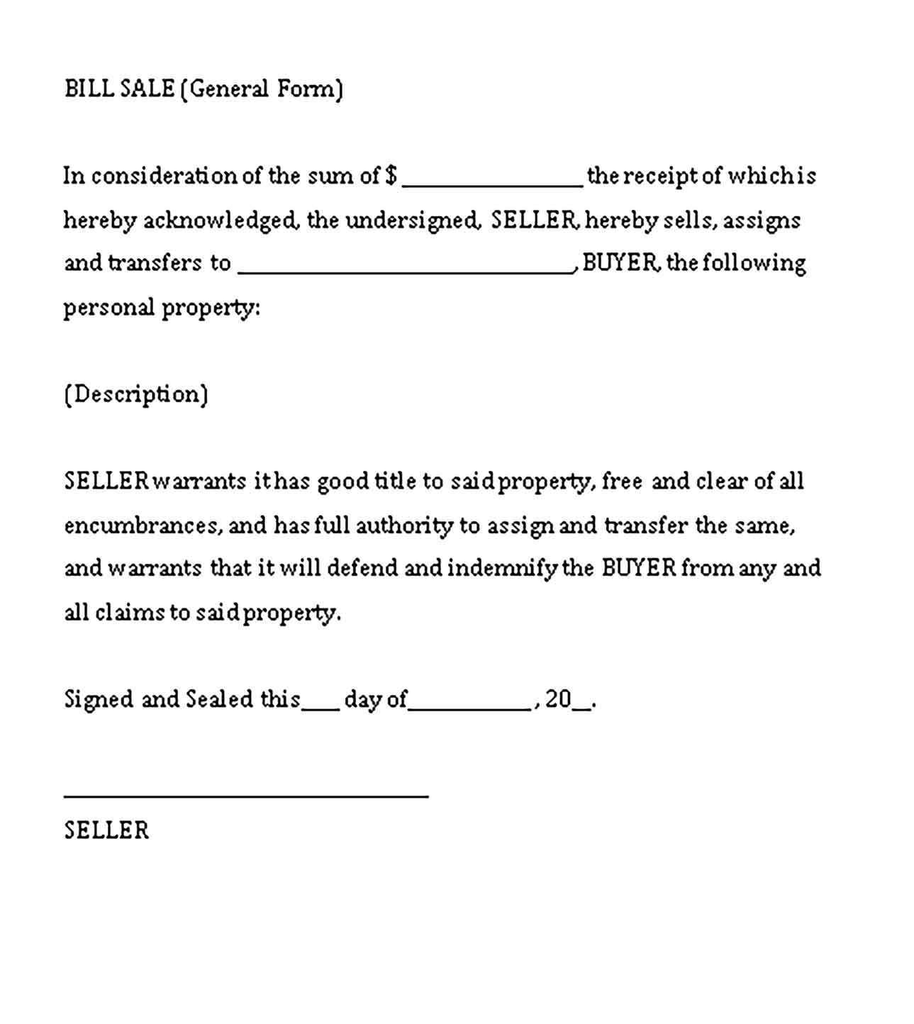 Sample general bill of sale word Templates