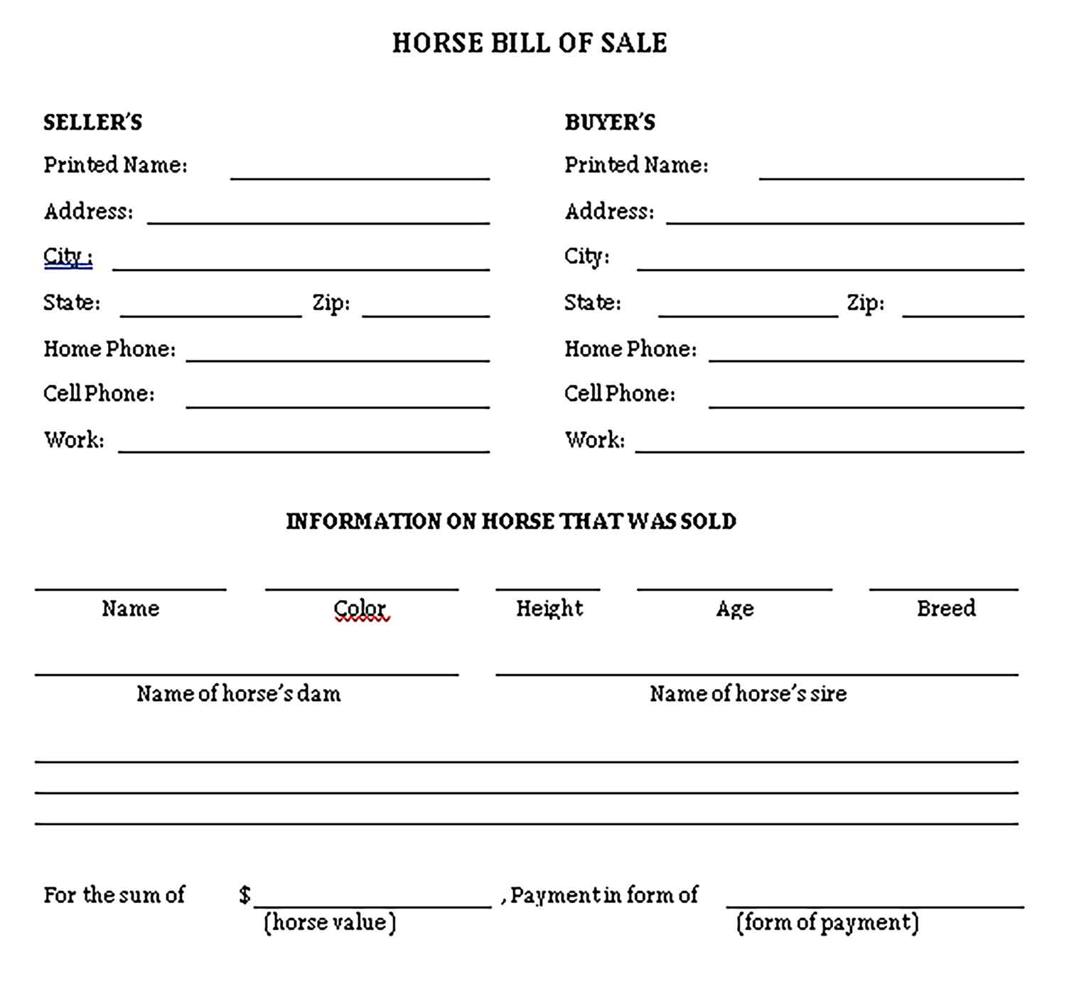 Sample horse bill of sale free Templates 1