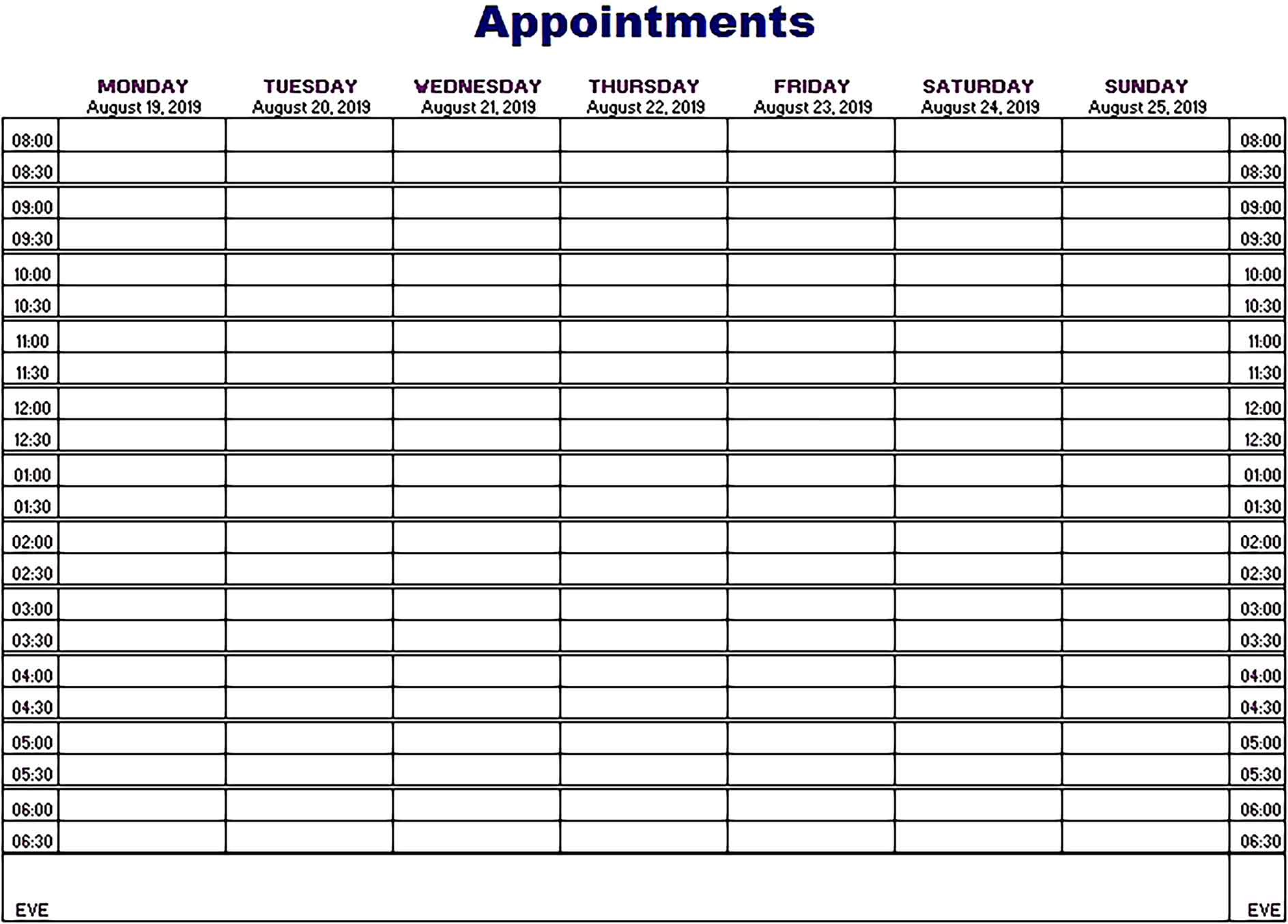 Template Appointments Schedule Sample