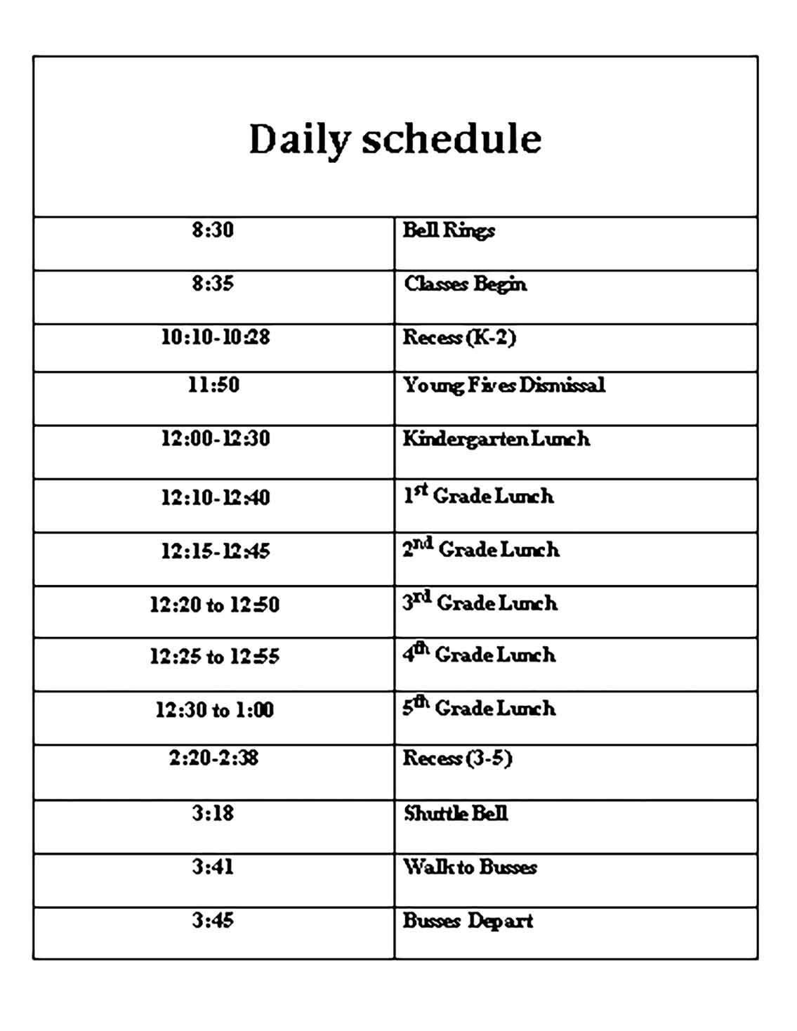 Template Daily School Sample
