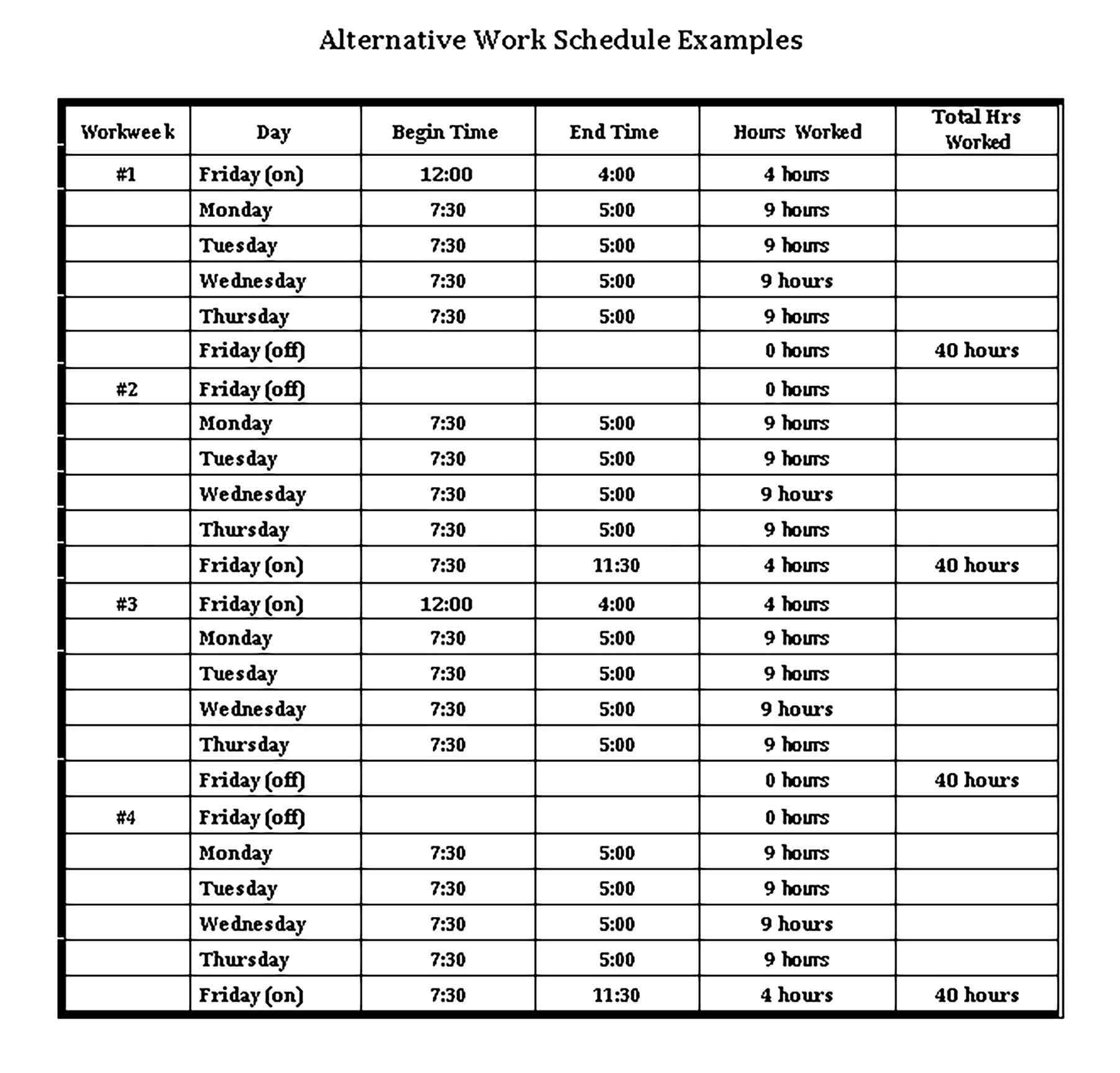 Template Daily Work Schedule in Sample