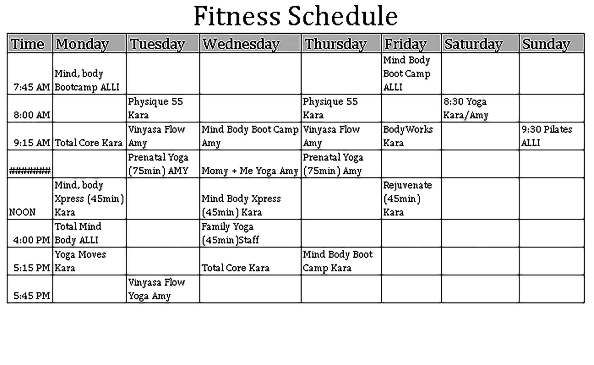 Template Fitness Schedule Sample