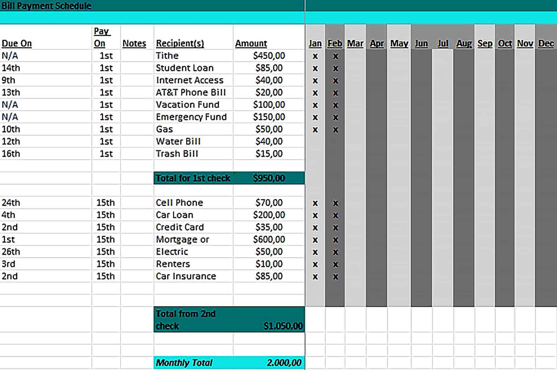 Template Monthly Bill Payment Schedule Excel Excel Sample