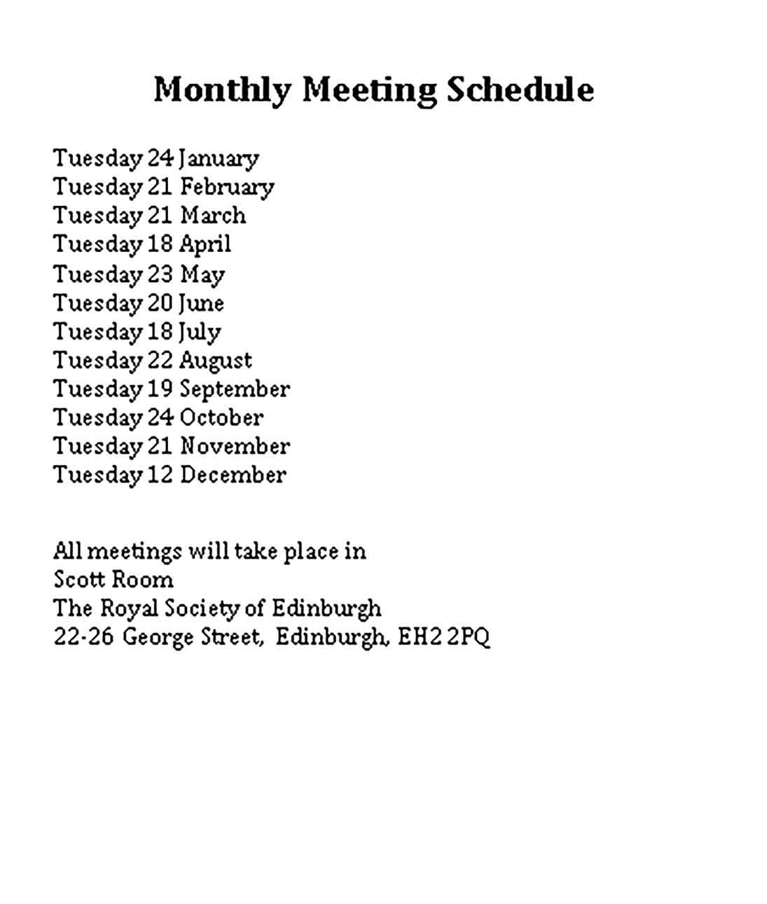 Template Monthly Meeting Sample