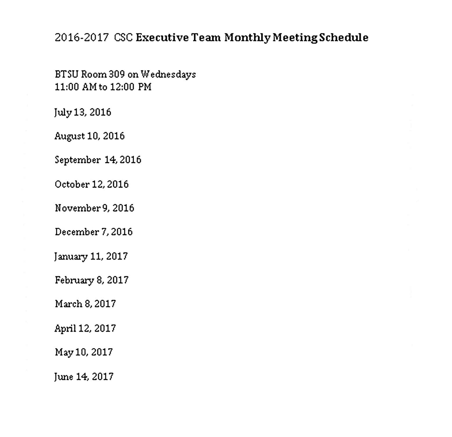 Template Monthly Team Schedule Sample