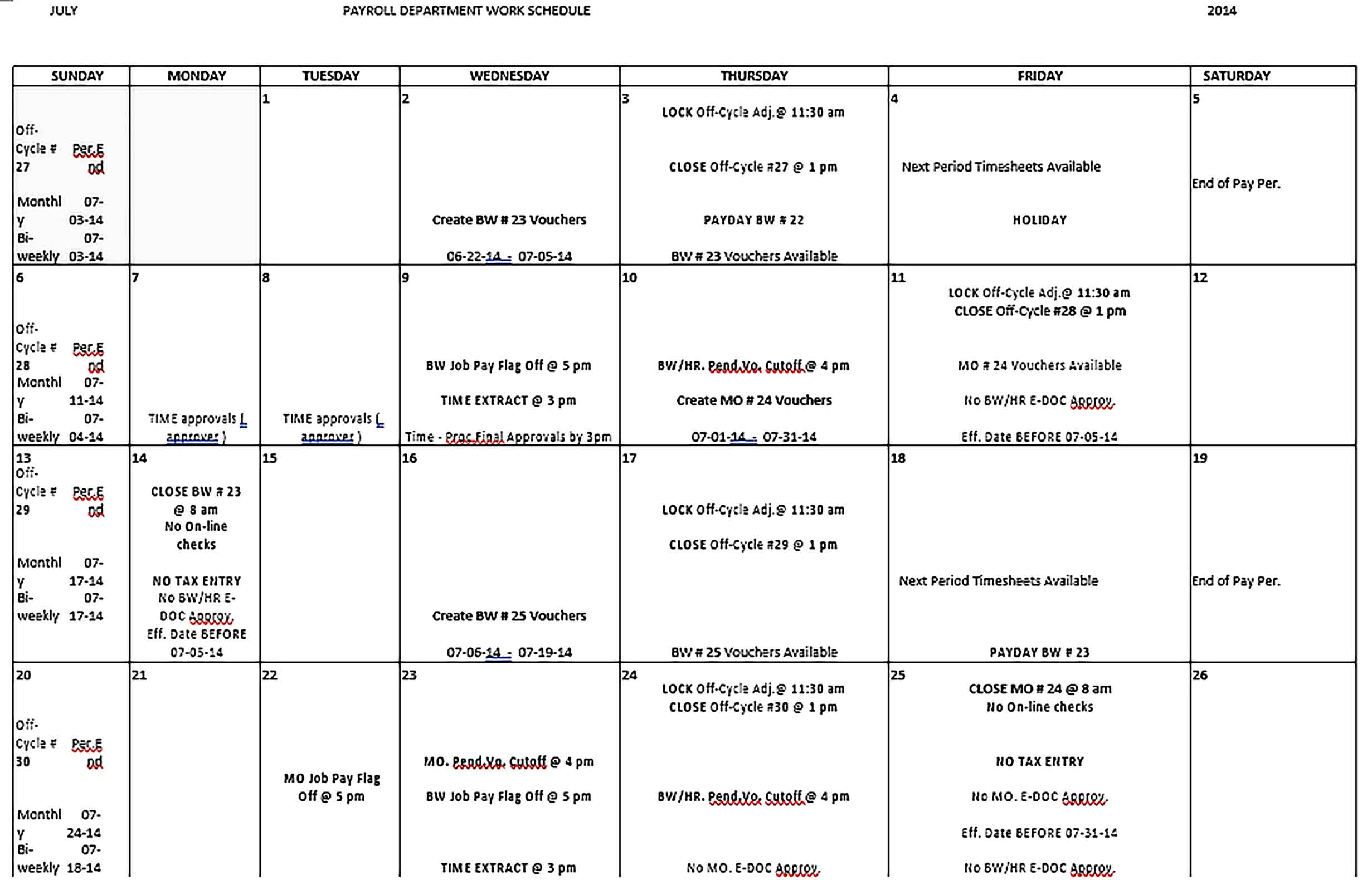 Template Payroll Department Monthly Work Schedule Sample