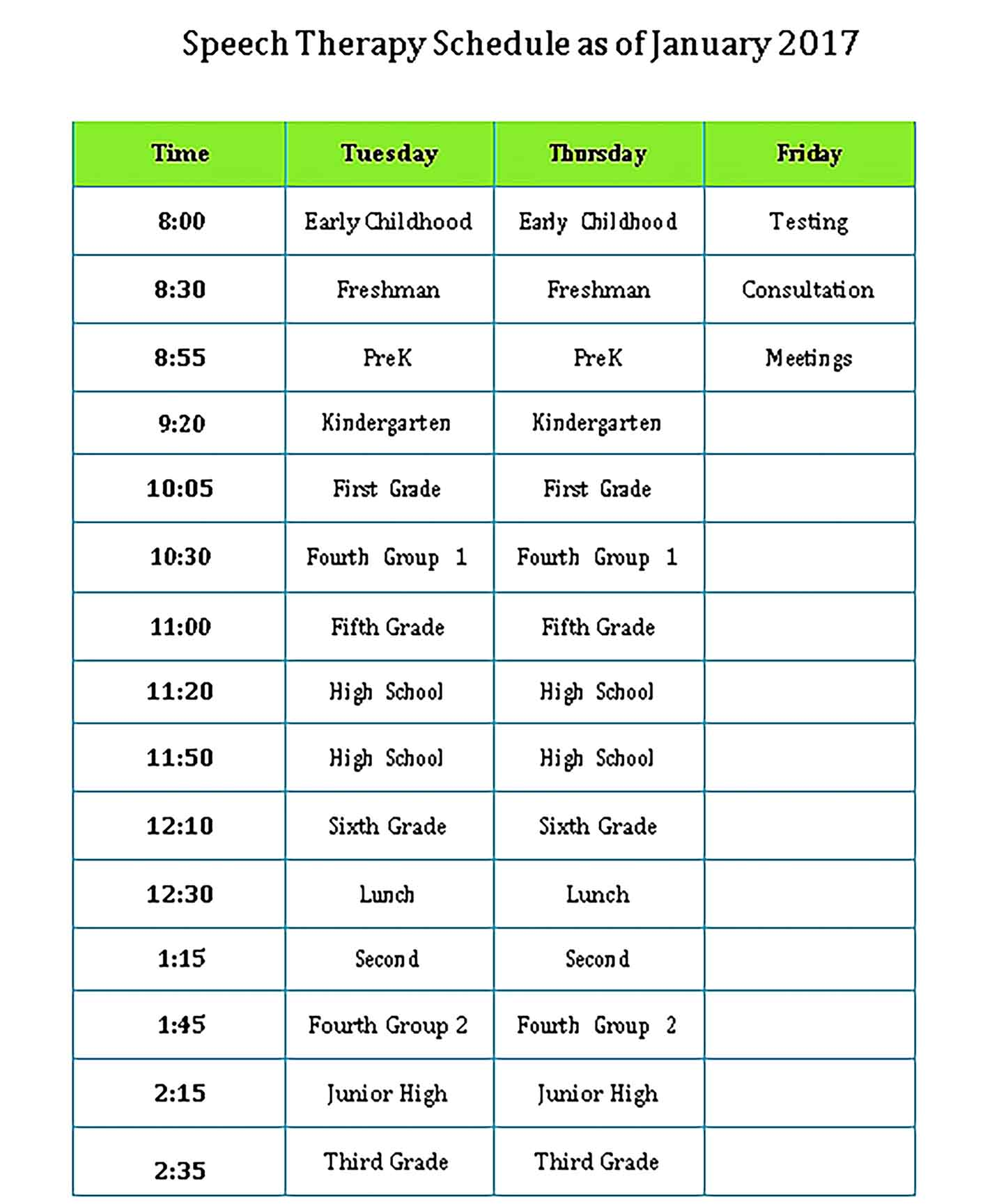 Template Speech Therapy Schedule Sample