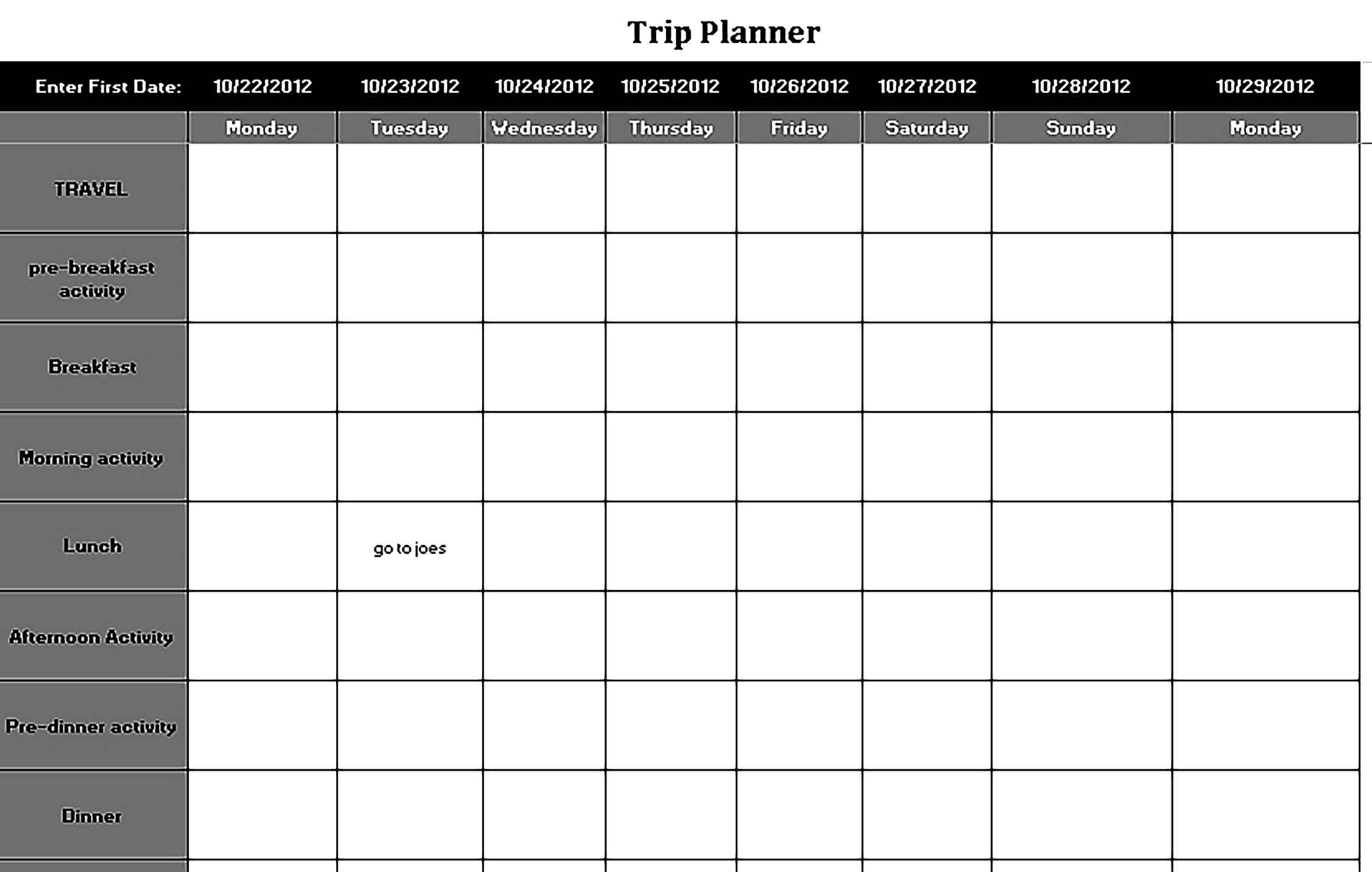 Template Vacation Trip Planning Schedule Sample