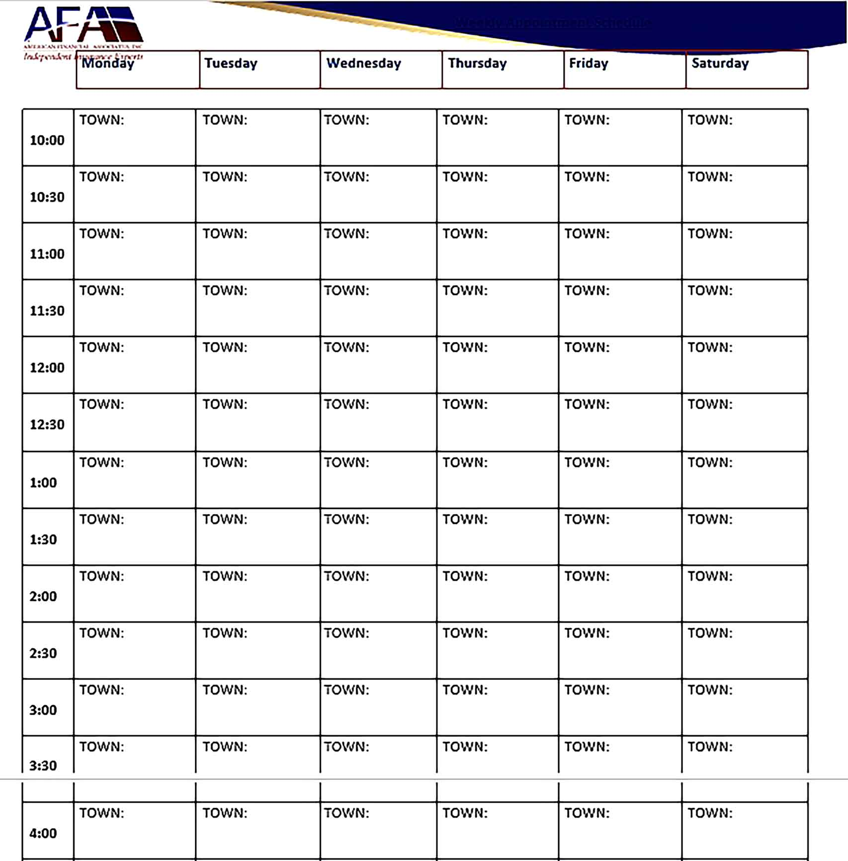Template Weekly Appointment Schedule Printable Sample