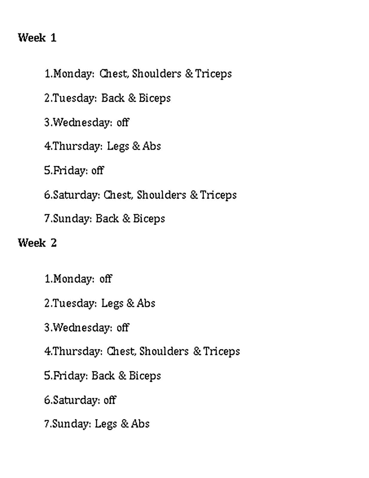 Template Workout Weekly Weight Training Schedule Sample