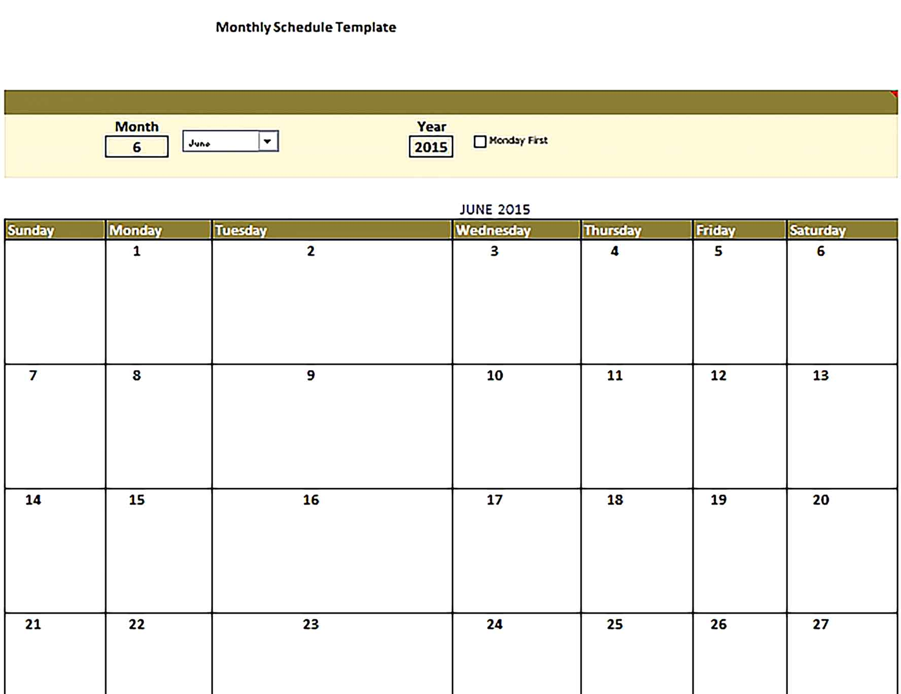 Template monthly schedule Sample