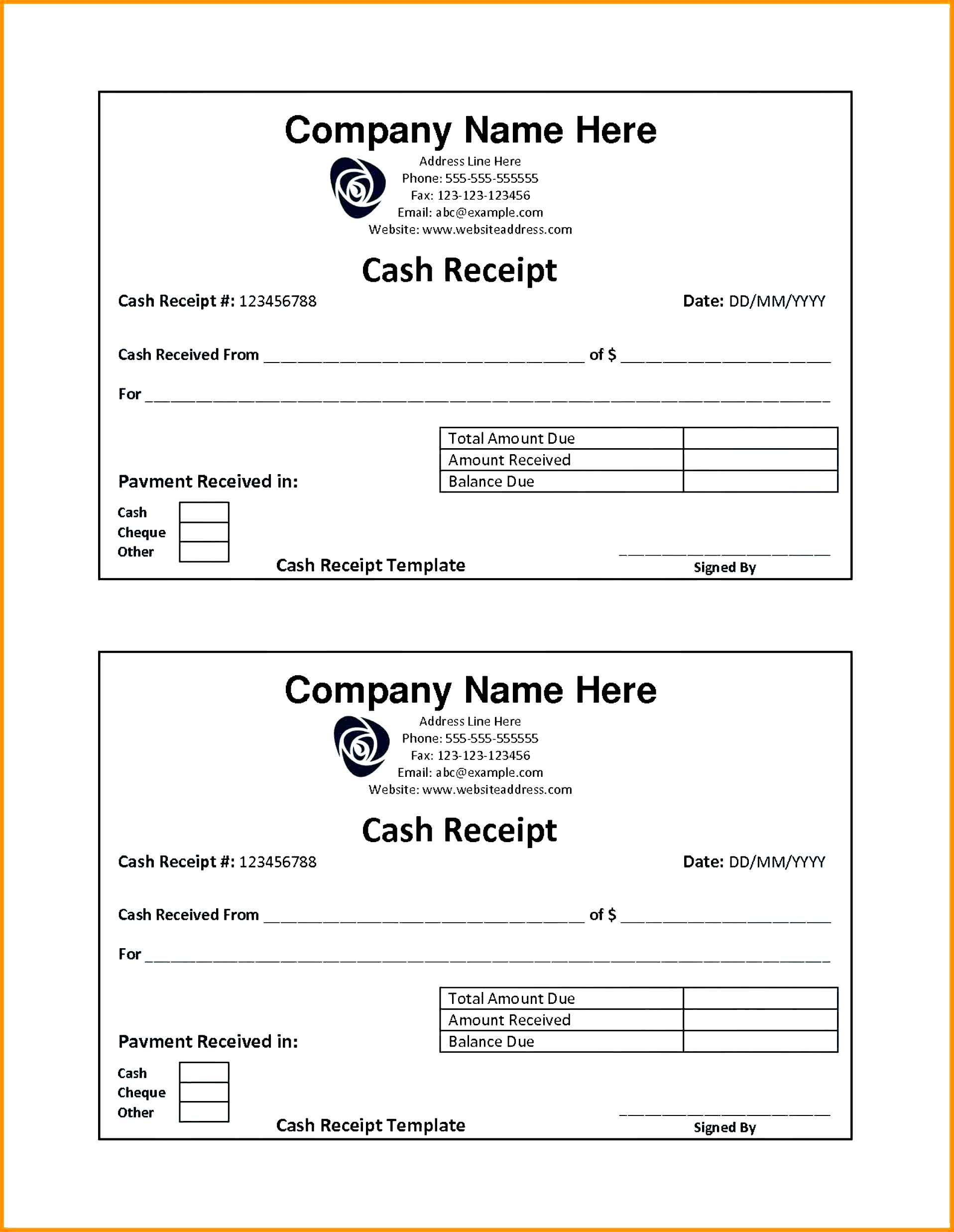 cash receipt template word doc free india simple resume