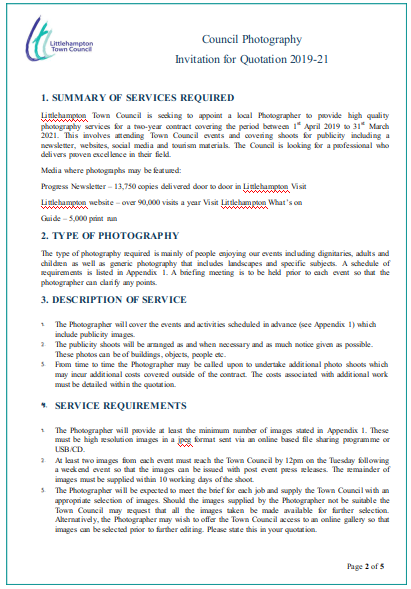 Council Photography Invitation for Quotation