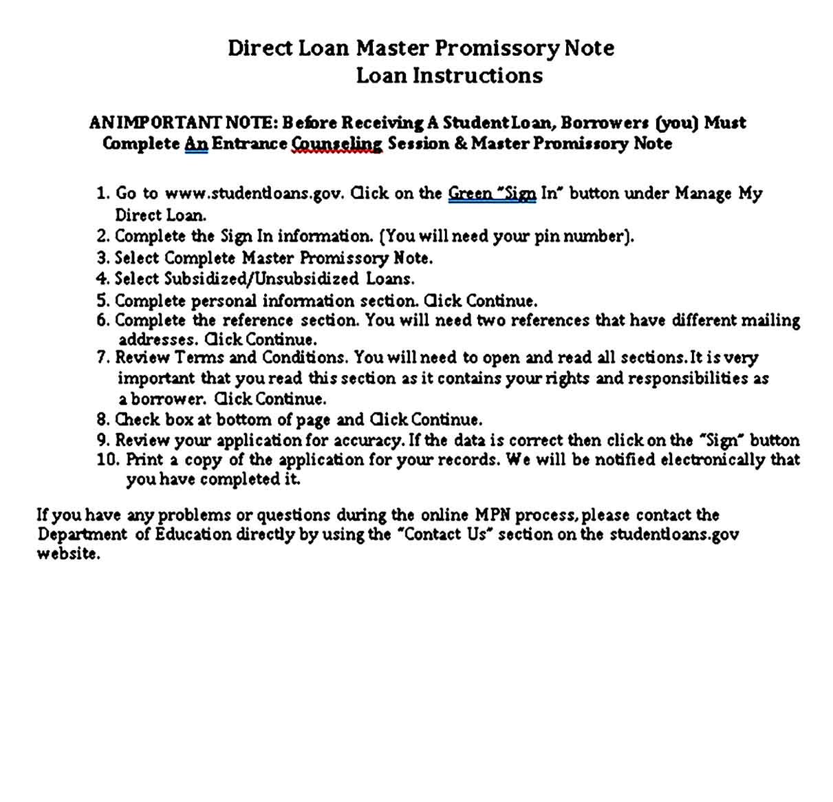 Direct Loan Master Promissory Note