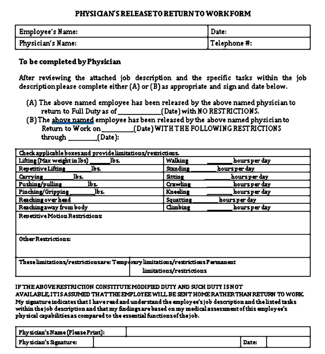 Doctor Note to Return to Work Template Free PDF