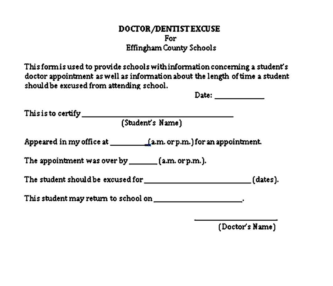 Doctors Notes For Missing School