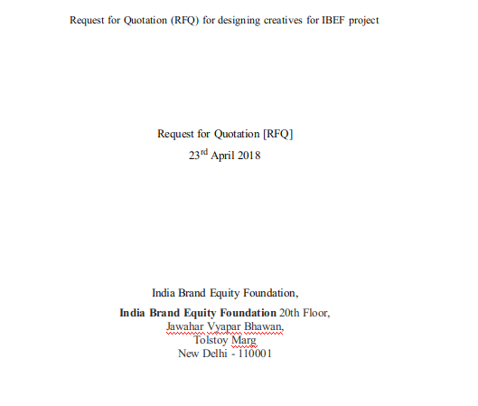 Example Request for Quotation 1