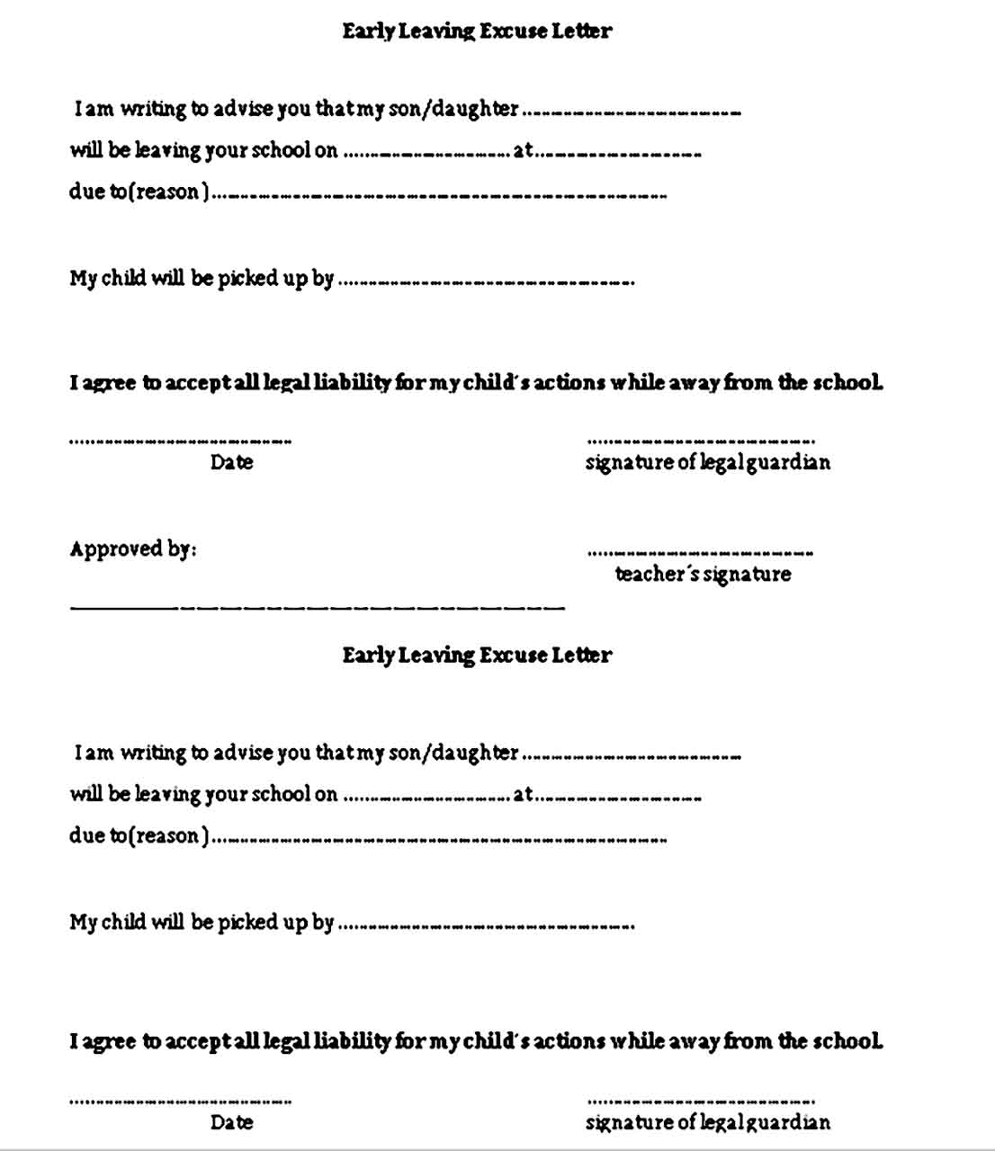 Excuse Letter for Early leaving template