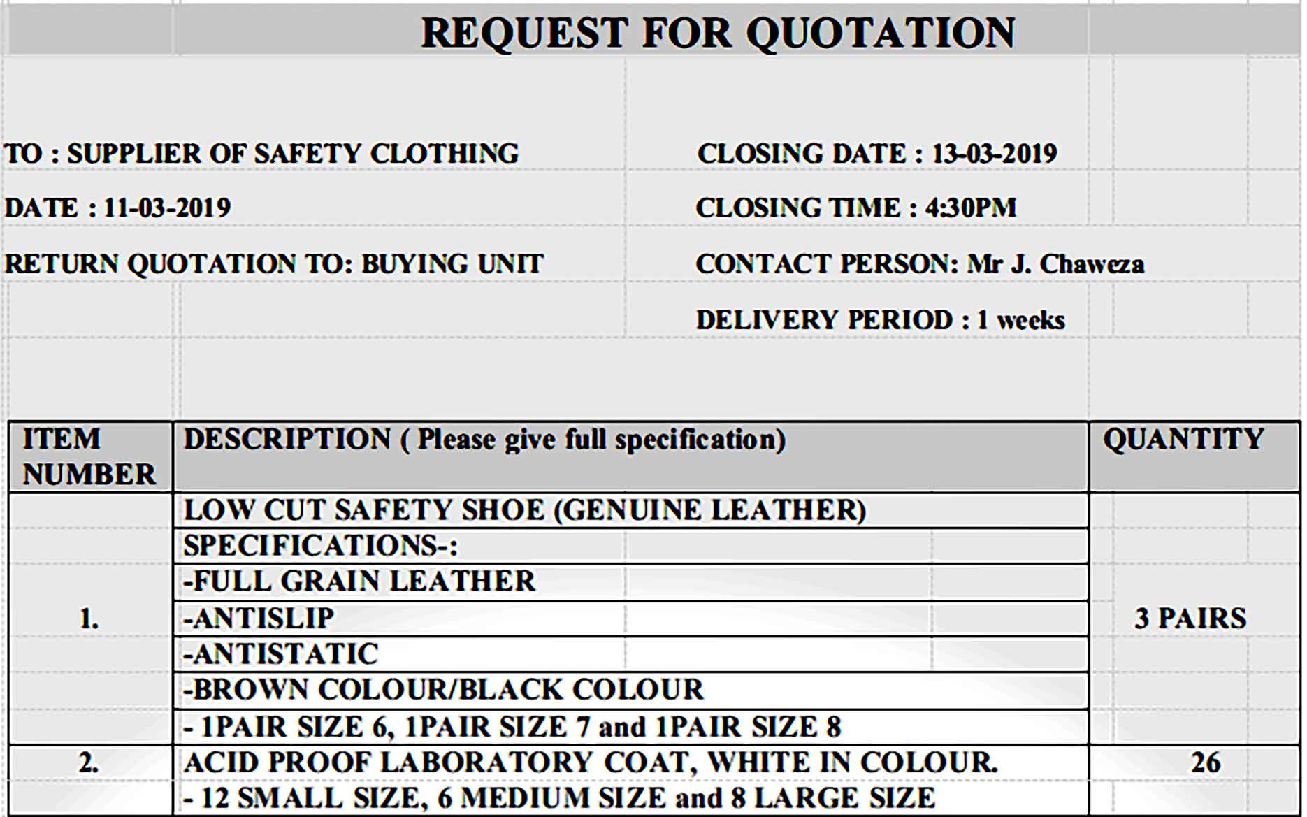 Formal Clothing Quotation