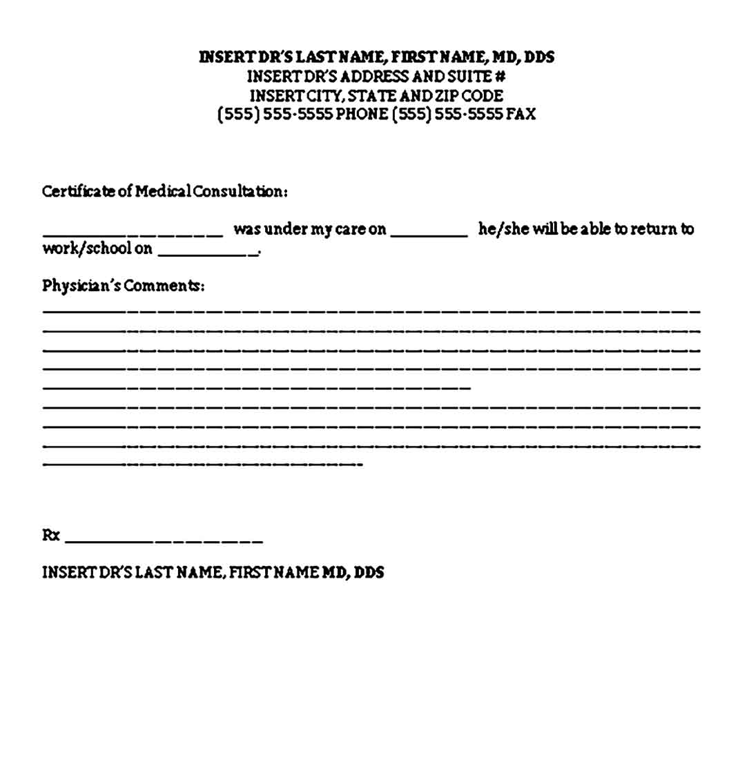 Free Medical Doctors Note for Childrens Word Download 1