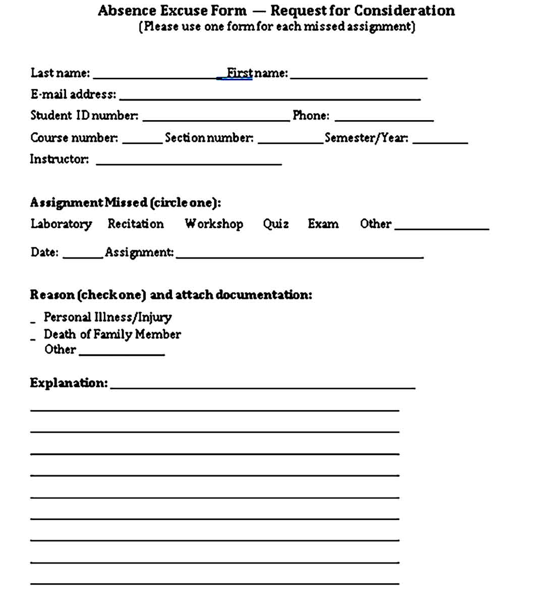 Free Student Doctors Note Template PDF Format