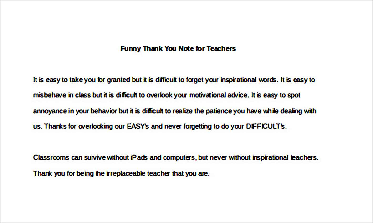 Funny Thank You Note for Teachers1