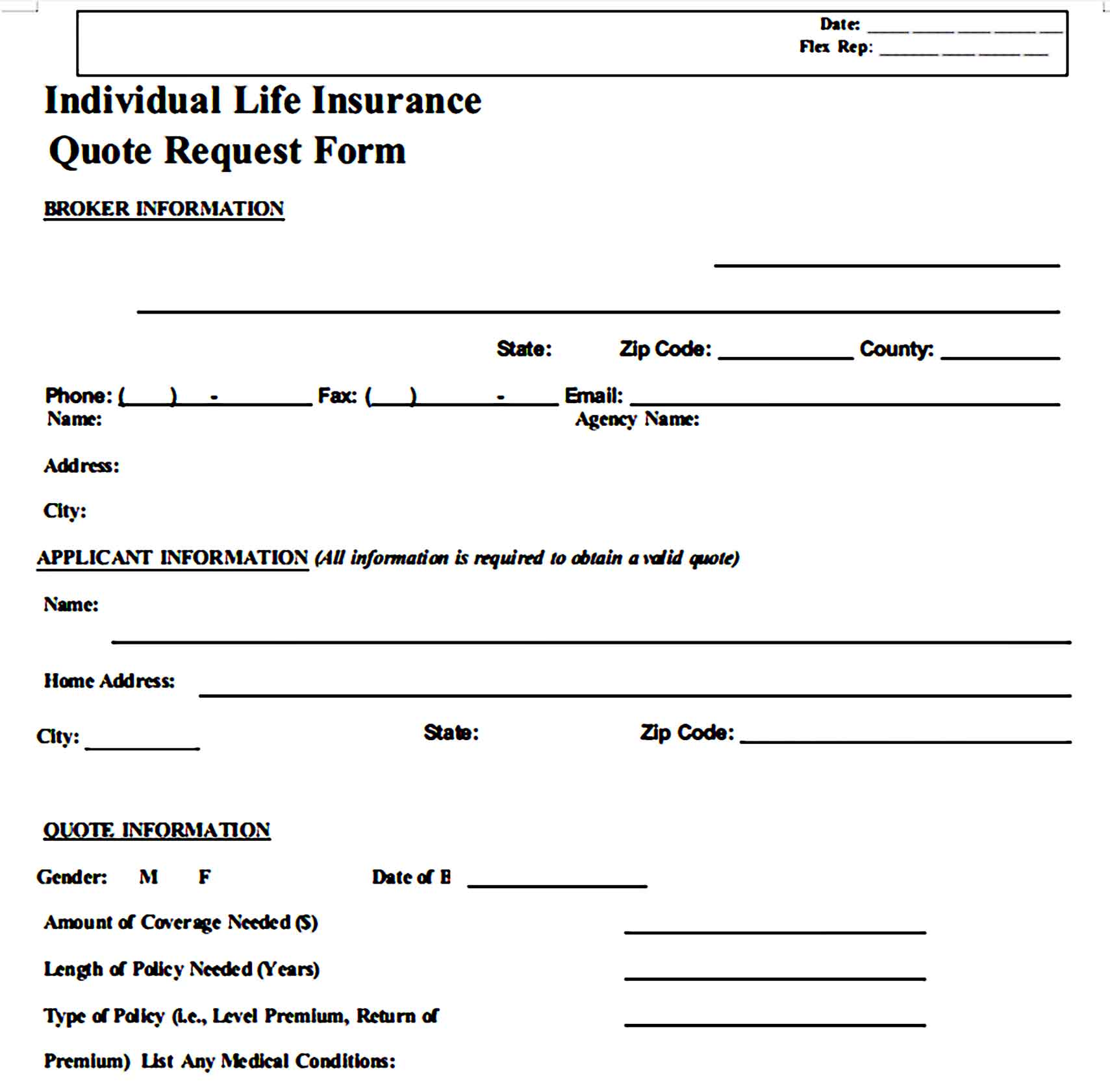 Individual Life Insurance Quote Request Form