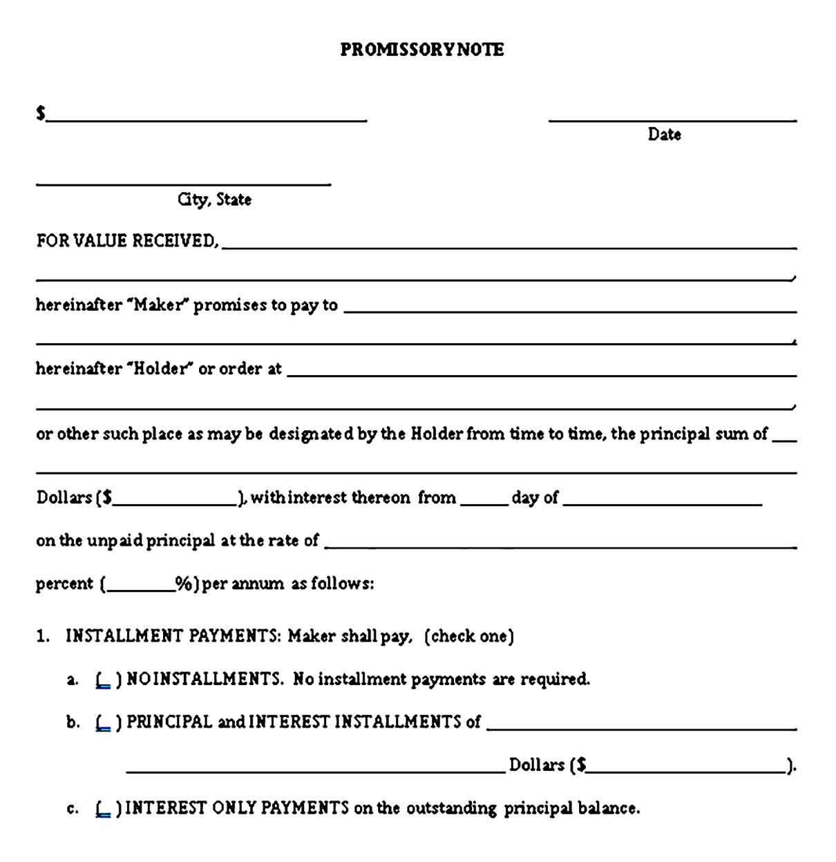 Investments Promissory Note Template