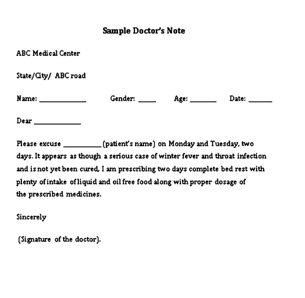 Medical Doctor Note for College Student Free Word 1