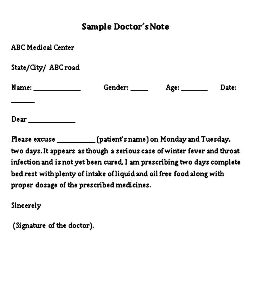Medical Doctor Note for College Student Free Word