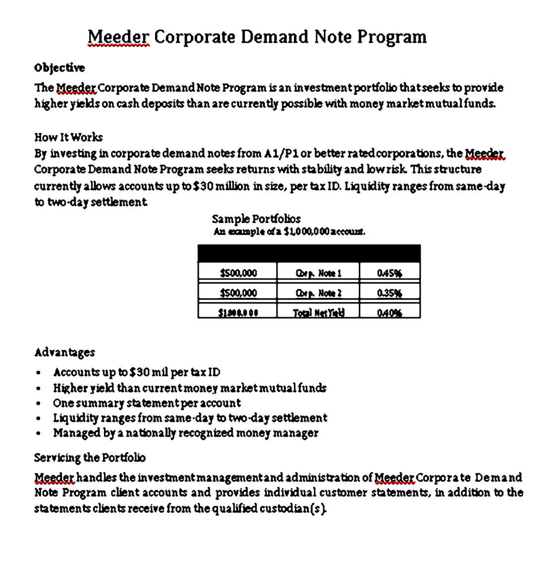 Meeder Corporate Demand Note Free PDF Download