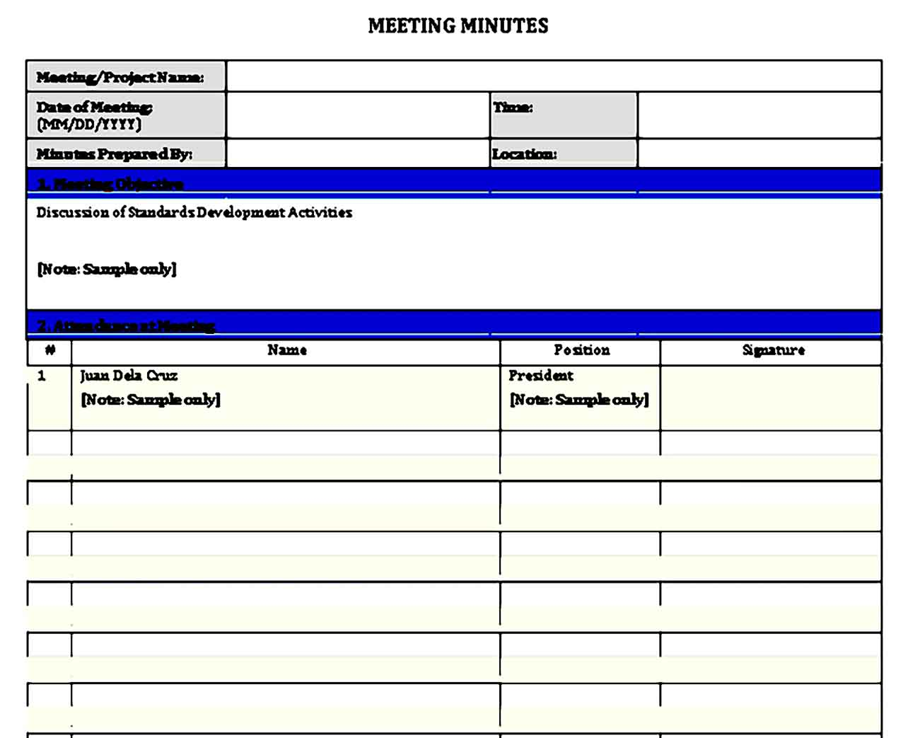 Meeting Minute Notes Template