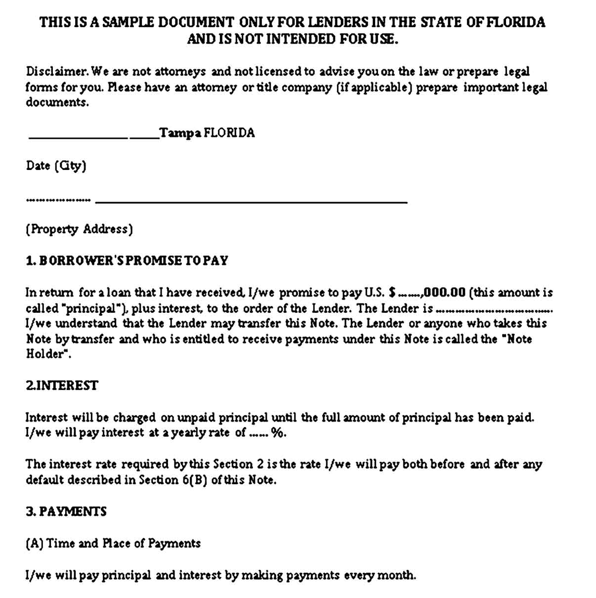 Mortgage Promissory Note Form