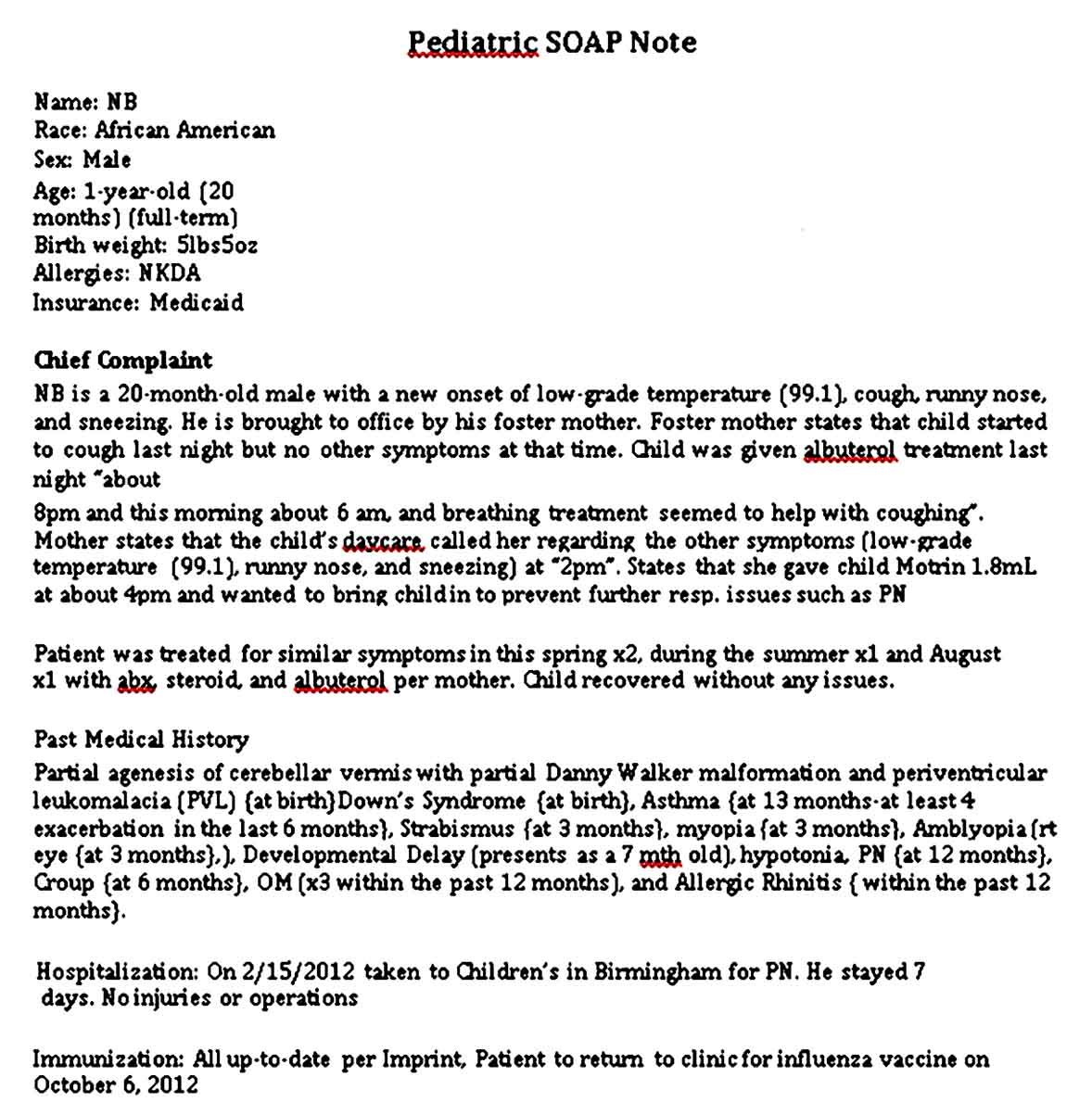 Pediatric Soap Note Template