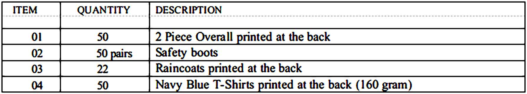 Professional Quotation for Clothing 2