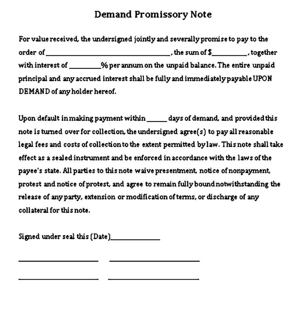 Promissory Demand Note Free Word Download