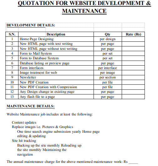 Quotation For Development and Maintenance