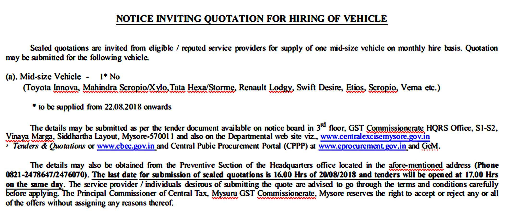 Quotation for Hiring of Vehicle 1