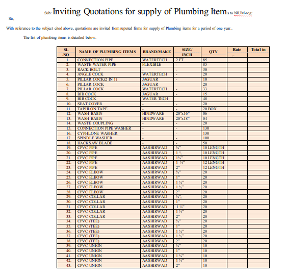 Quotations for Supply of Plumbing Items